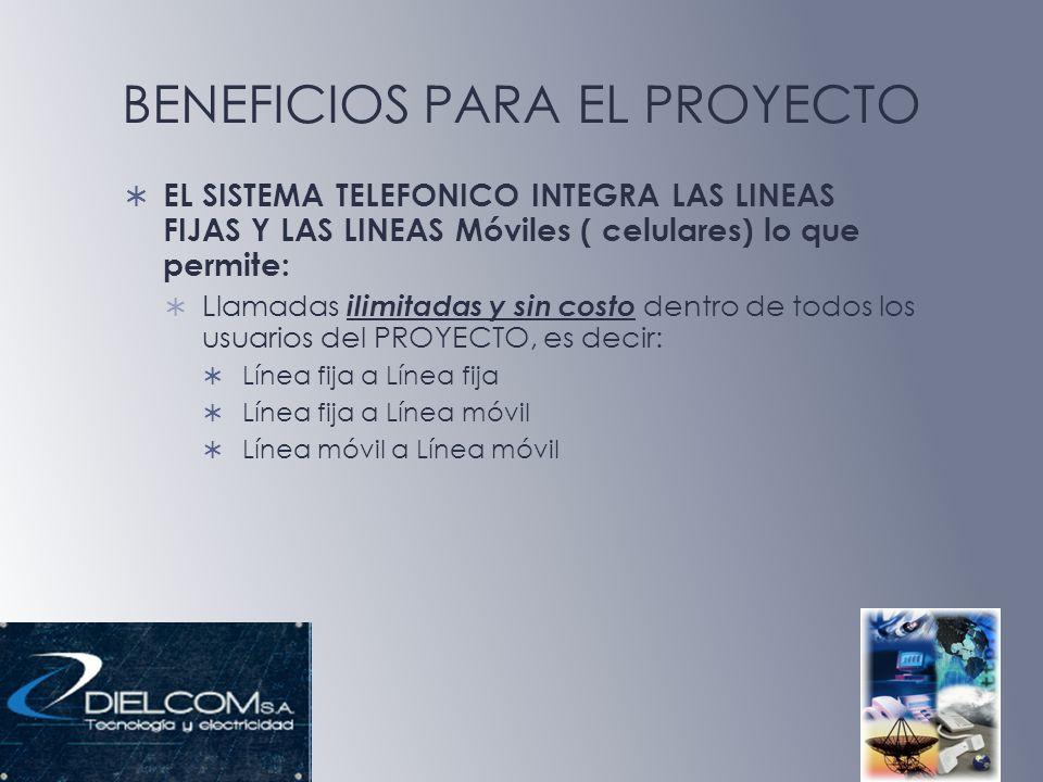 BENEFICIOS PARA EL PROYECTO EL SISTEMA TELEFONICO INTEGRA LAS LINEAS FIJAS Y LAS LINEAS Móviles ( celulares) lo que permite: Llamadas ilimitadas y sin