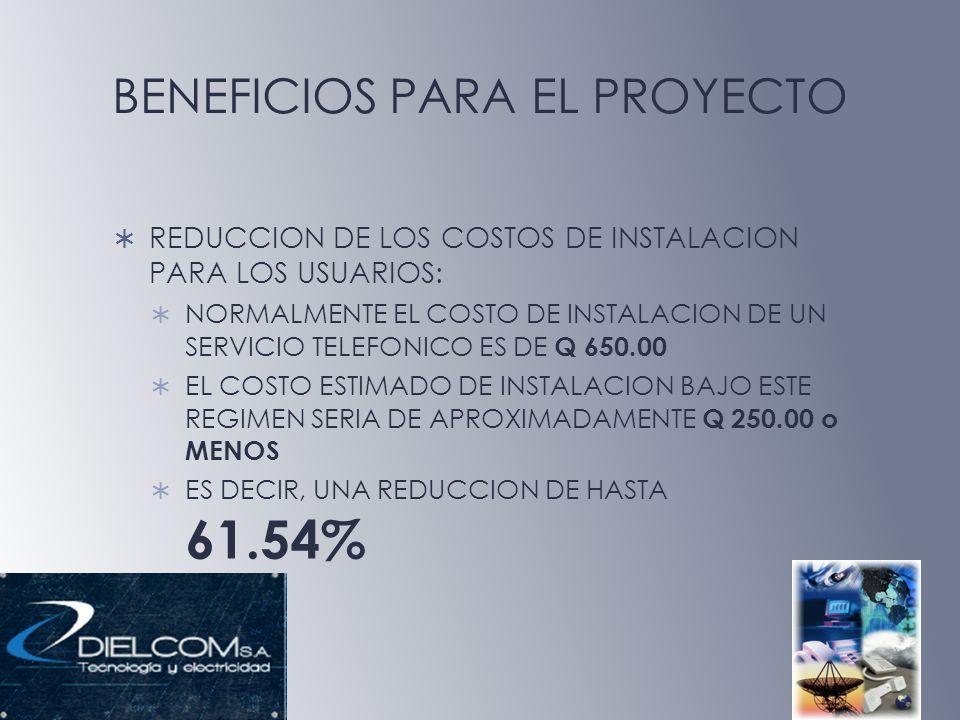 BENEFICIOS PARA EL PROYECTO REDUCCION DE LOS COSTOS DE INSTALACION PARA LOS USUARIOS: NORMALMENTE EL COSTO DE INSTALACION DE UN SERVICIO TELEFONICO ES