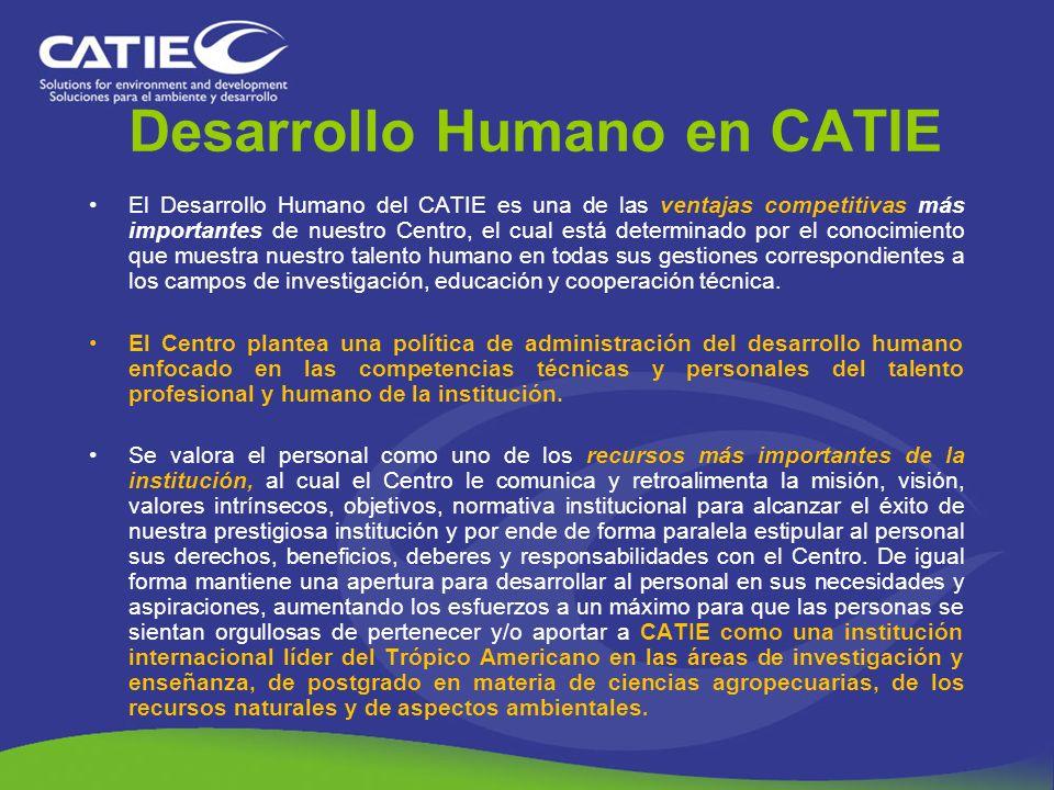 Desarrollo Humano en CATIE El Desarrollo Humano del CATIE es una de las ventajas competitivas más importantes de nuestro Centro, el cual está determin