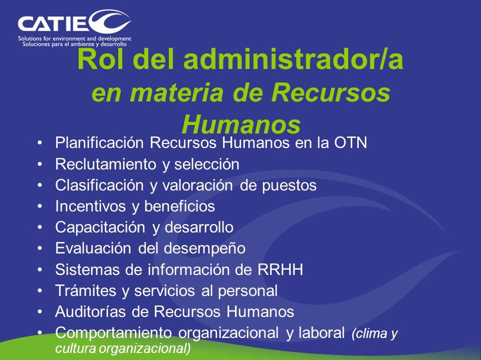 Rol del administrador/a en materia de Recursos Humanos Planificación Recursos Humanos en la OTN Reclutamiento y selección Clasificación y valoración d
