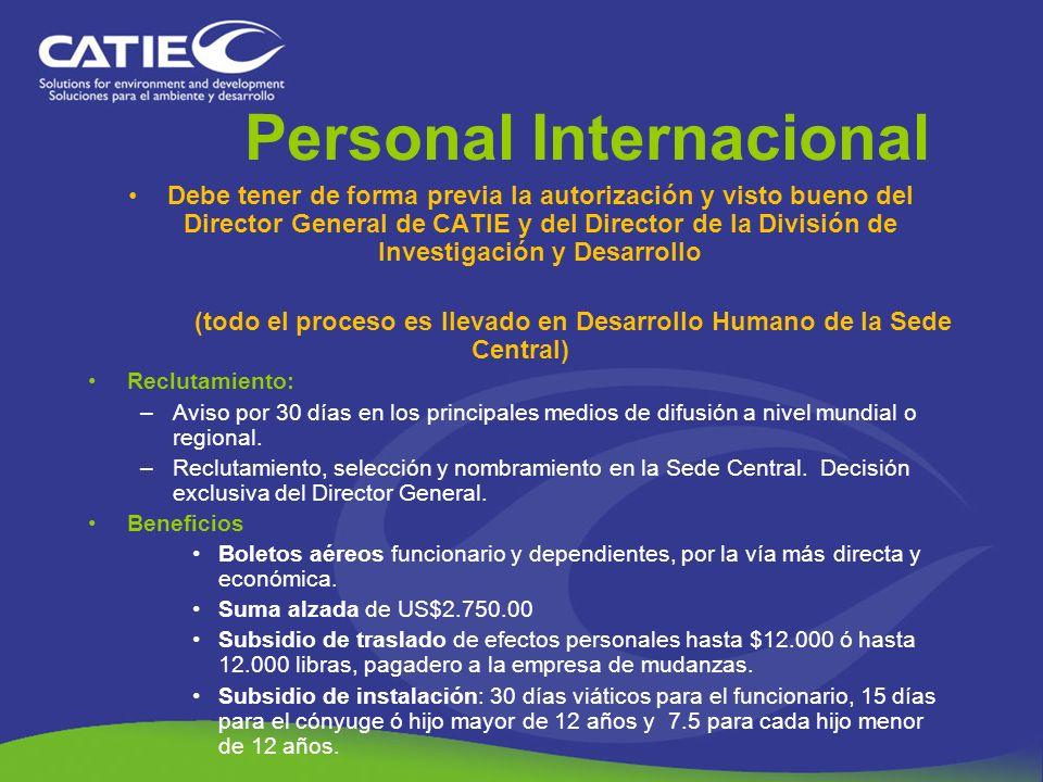 Personal Internacional Debe tener de forma previa la autorización y visto bueno del Director General de CATIE y del Director de la División de Investi