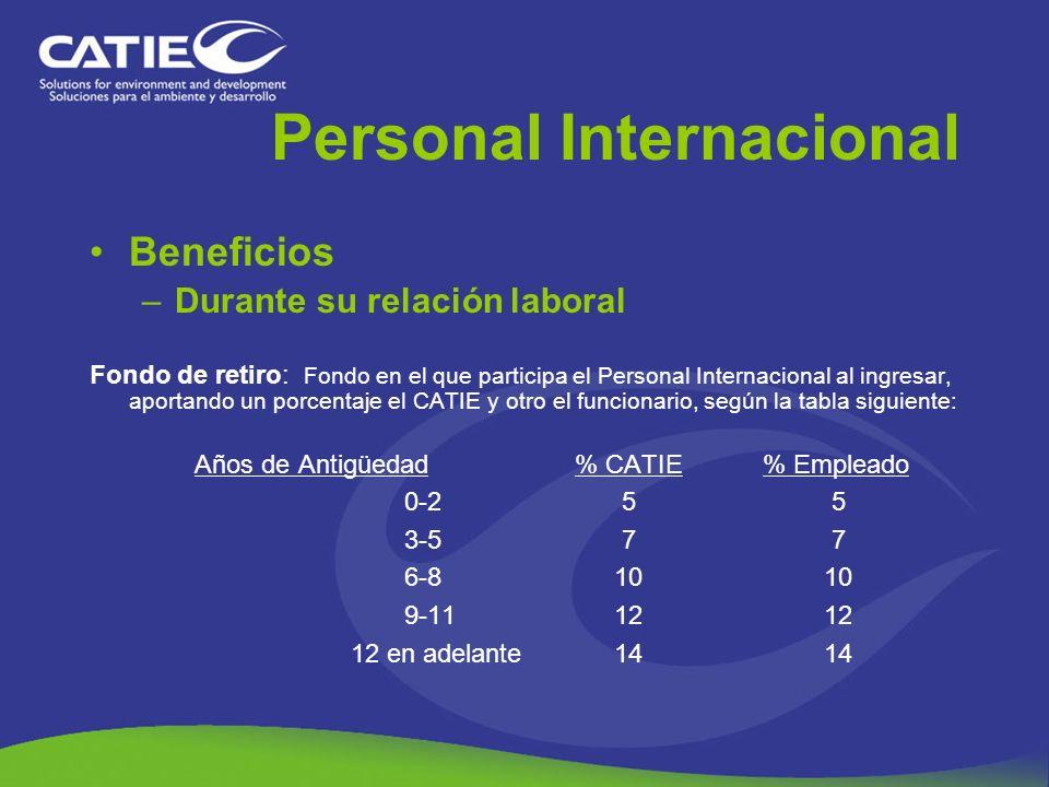 Personal Internacional Beneficios –Durante su relación laboral Fondo de retiro: Fondo en el que participa el Personal Internacional al ingresar, aport