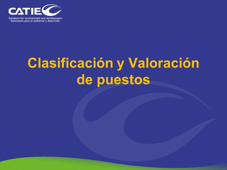 Clasificación y Valoración de puestos