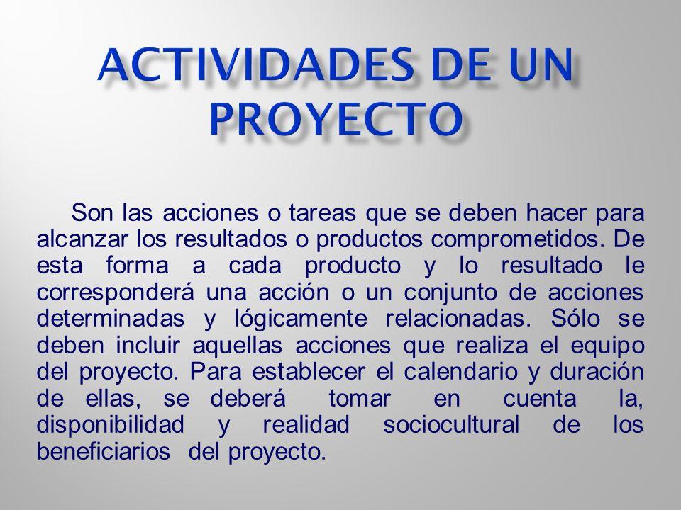 Son las acciones o tareas que se deben hacer para alcanzar los resultados o productos comprometidos. De esta forma a cada producto y lo resultado le c