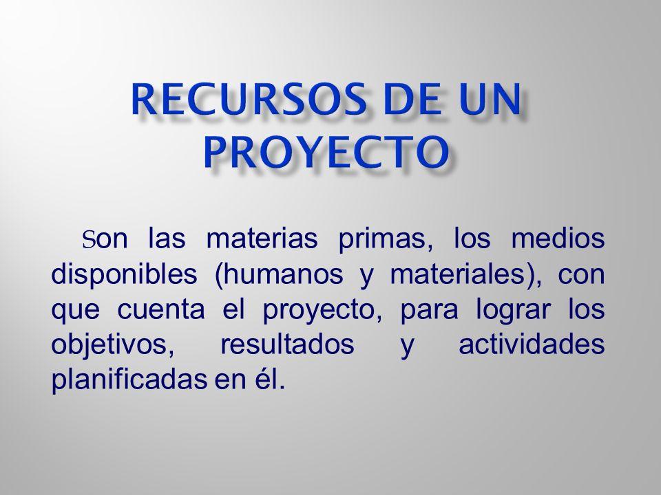 S on las materias primas, los medios disponibles (humanos y materiales), con que cuenta el proyecto, para lograr los objetivos, resultados y actividad