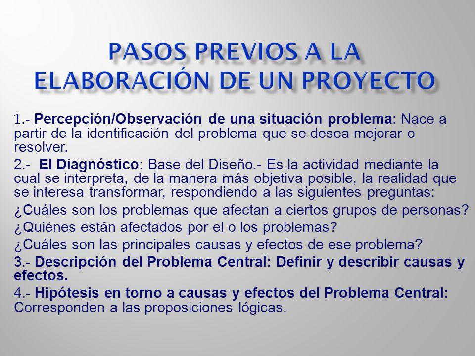 1.- Percepción/Observación de una situación problema: Nace a partir de la identificación del problema que se desea mejorar o resolver. 2.- El Diagnóst