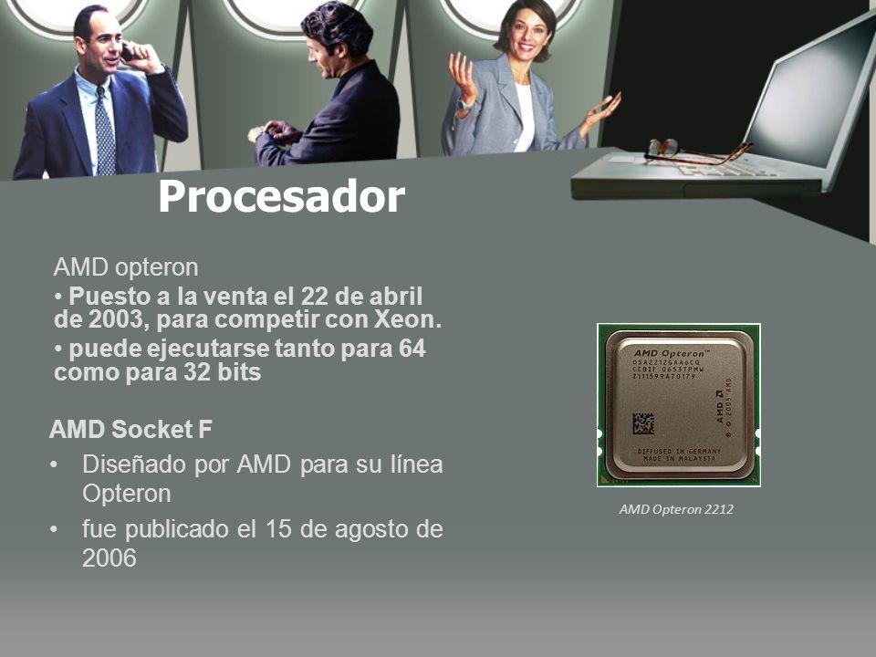 Procesador AMD Opteron 2212 AMD opteron Puesto a la venta el 22 de abril de 2003, para competir con Xeon.
