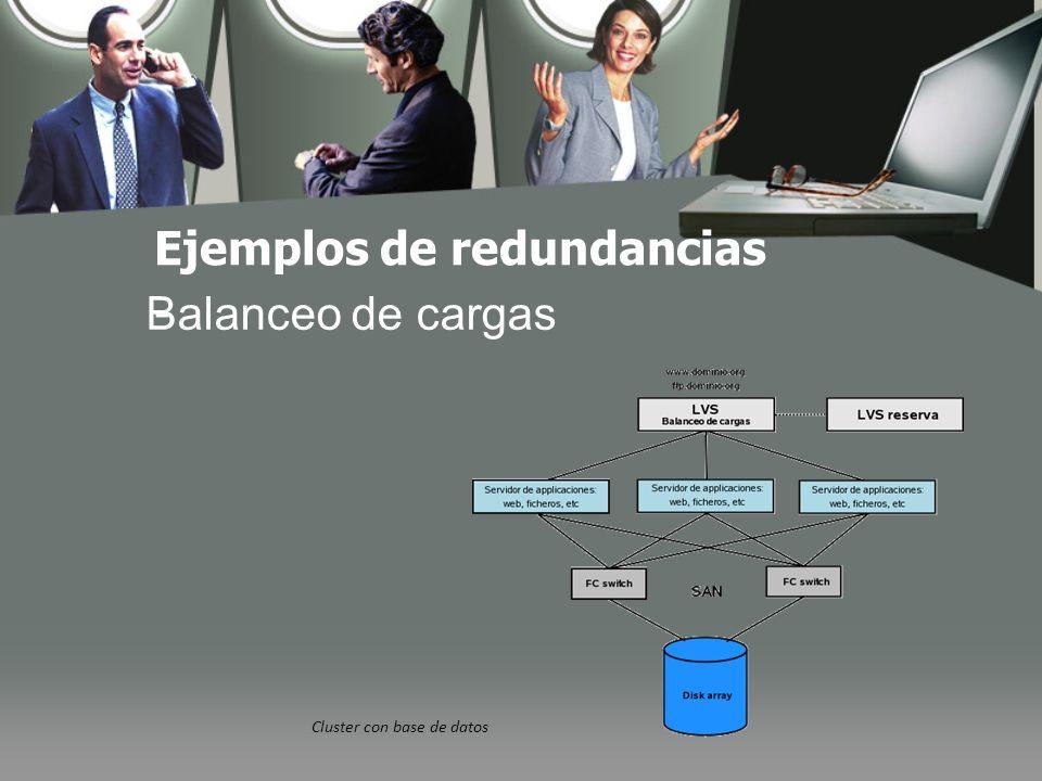 - Cluster con base de datos Balanceo de cargas Ejemplos de redundancias