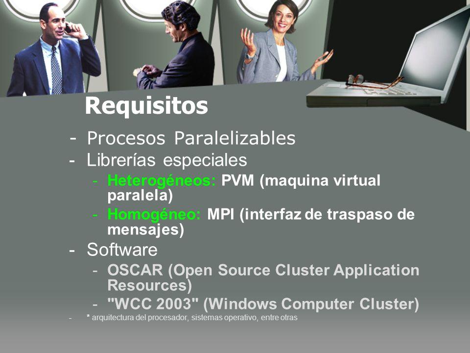 Requisitos -Procesos Paralelizables -Librerías especiales -Heterogéneos: PVM (maquina virtual paralela) -Homogéneo: MPI (interfaz de traspaso de mensajes) -Software -OSCAR (Open Source Cluster Application Resources) - WCC 2003 (Windows Computer Cluster) -* arquitectura del procesador, sistemas operativo, entre otras