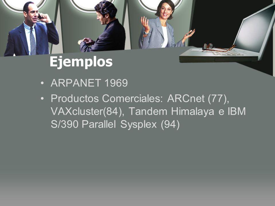 Ejemplos ARPANET 1969 Productos Comerciales: ARCnet (77), VAXcluster(84), Tandem Himalaya e IBM S/390 Parallel Sysplex (94)