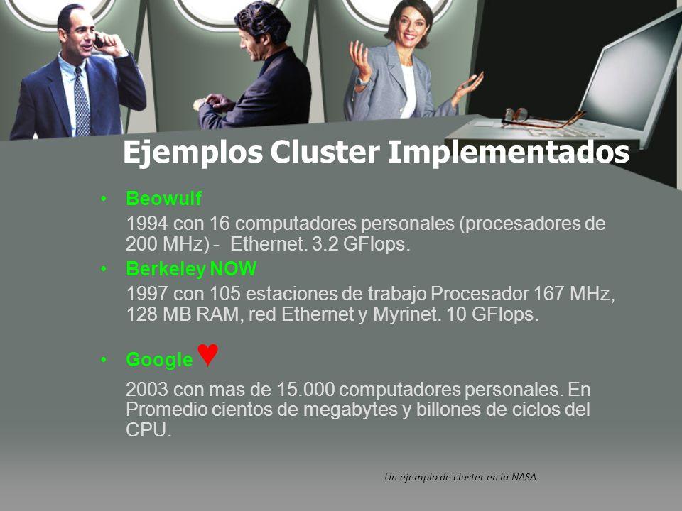 Ejemplos Cluster Implementados Un ejemplo de cluster en la NASA Beowulf 1994 con 16 computadores personales (procesadores de 200 MHz) - Ethernet.