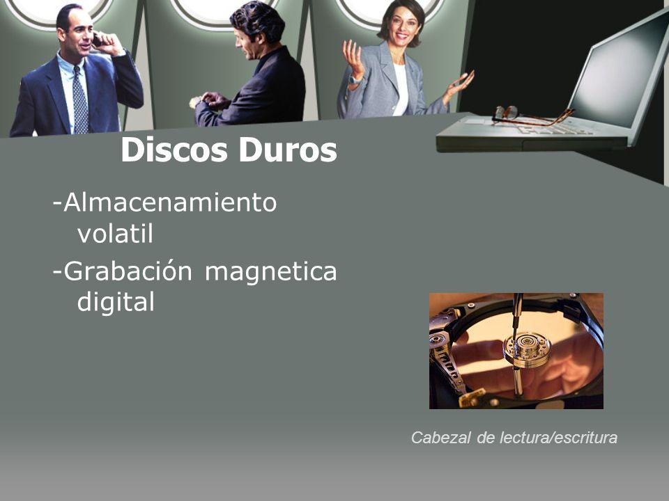 Discos Duros -Almacenamiento volatil -Grabación magnetica digital Cabezal de lectura/escritura