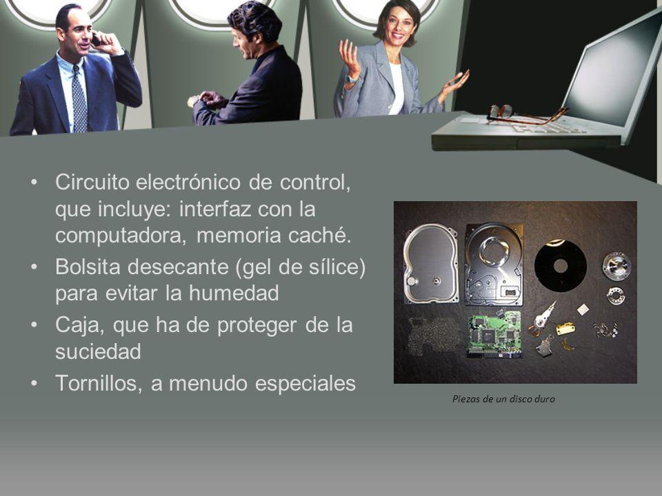 Piezas de un disco duro Circuito electrónico de control, que incluye: interfaz con la computadora, memoria caché.