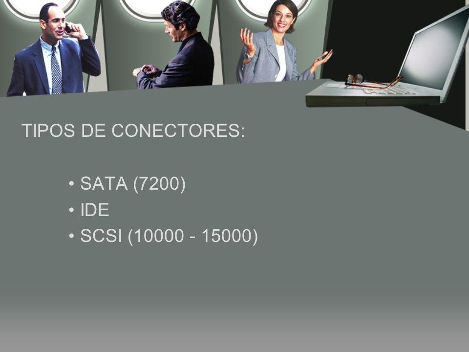 TIPOS DE CONECTORES: SATA (7200) IDE SCSI (10000 - 15000)