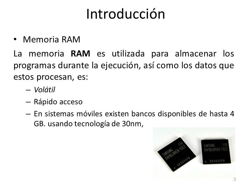 Introducción Memoria RAM La memoria RAM es utilizada para almacenar los programas durante la ejecución, así como los datos que estos procesan, es: – V
