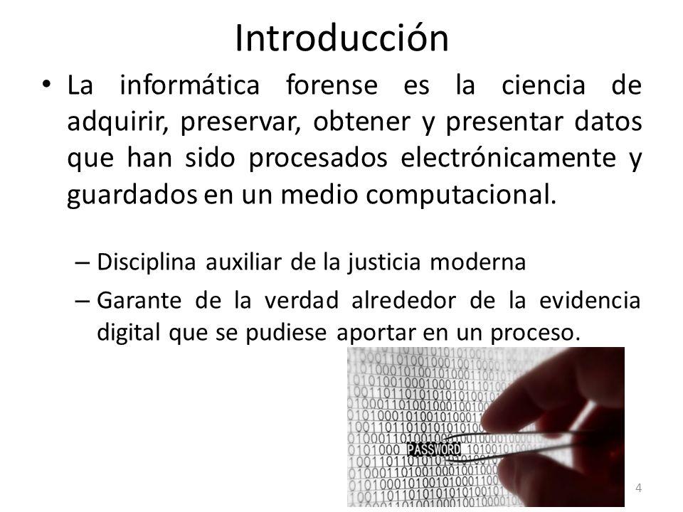 La informática forense es la ciencia de adquirir, preservar, obtener y presentar datos que han sido procesados electrónicamente y guardados en un medi