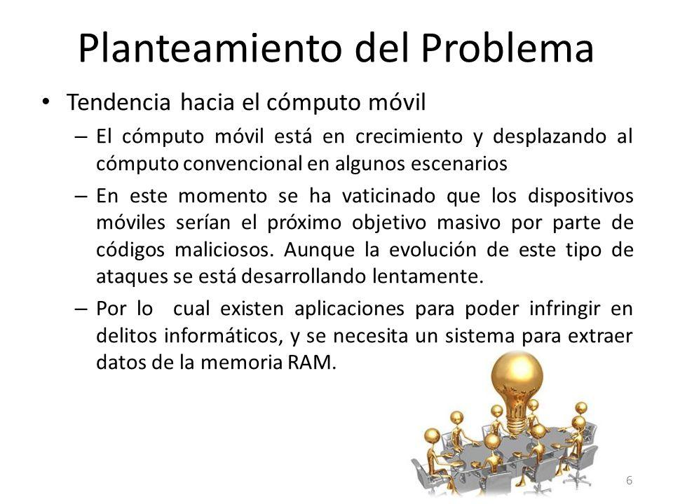 Planteamiento del Problema Análisis forense de dispositivos móviles: Datos relacionados con el servicio Identificadores de la tarjeta SIM y el subscriptor.