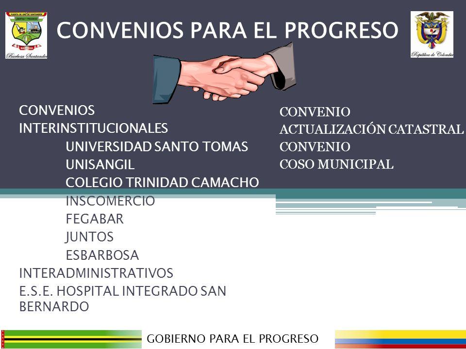 CONVENIO ACTUALIZACIÓN CATASTRAL CONVENIO COSO MUNICIPAL GOBIERNO PARA EL PROGRESO CONVENIOS PARA EL PROGRESO CONVENIOS INTERINSTITUCIONALES UNIVERSID