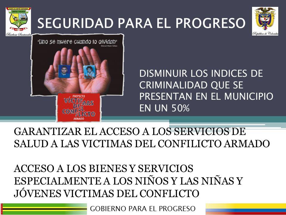 GARANTIZAR EL ACCESO A LOS SERVICIOS DE SALUD A LAS VICTIMAS DEL CONFILICTO ARMADO ACCESO A LOS BIENES Y SERVICIOS ESPECIALMENTE A LOS NIÑOS Y LAS NIÑAS Y JÓVENES VICTIMAS DEL CONFLICTO GOBIERNO PARA EL PROGRESO SEGURIDAD PARA EL PROGRESO DISMINUIR LOS INDICES DE CRIMINALIDAD QUE SE PRESENTAN EN EL MUNICIPIO EN UN 50%
