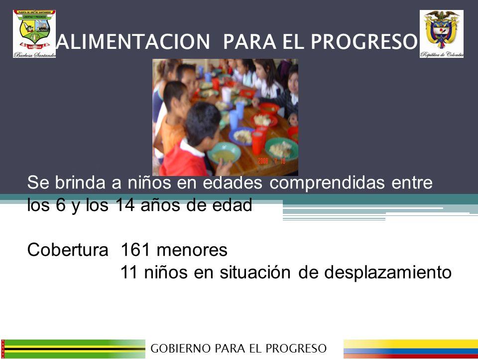 ALMUERZO ESCOLAR CITE GOBIERNO PARA EL PROGRESO ALIMENTACION PARA EL PROGRESO Se brinda a niños en edades comprendidas entre los 6 y los 14 años de edad, con cofinanciación del ICBF.
