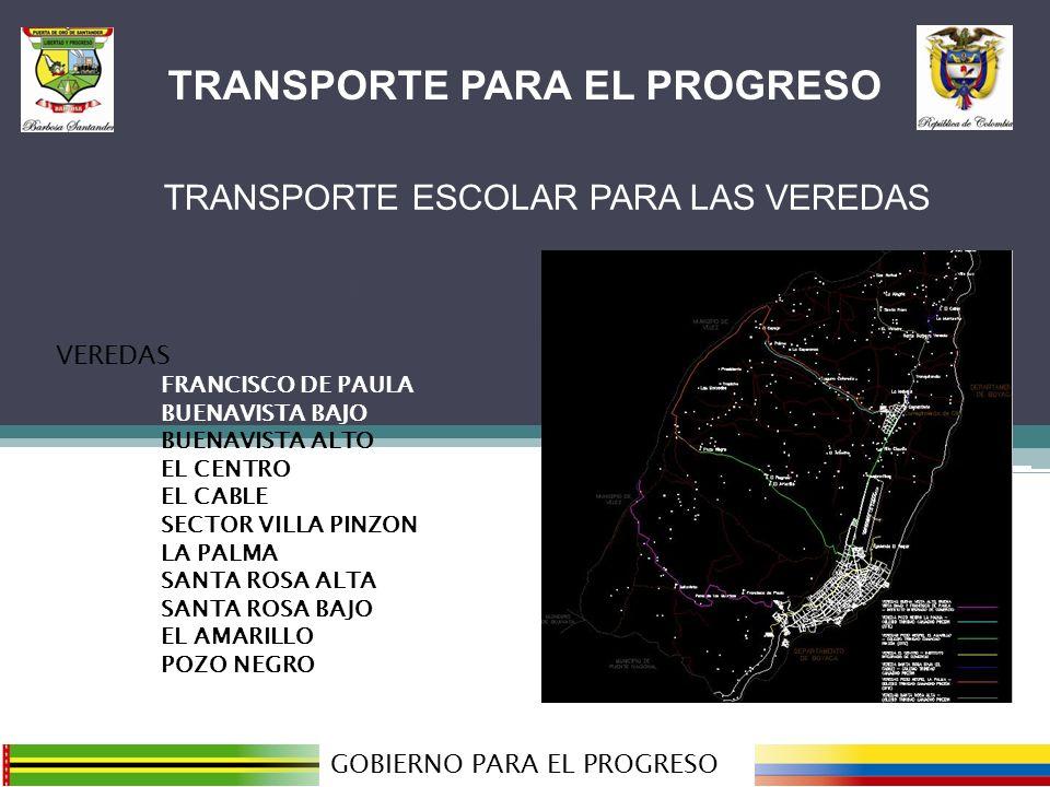 TRANSPORTE PARA EL PROGRESO GOBIERNO PARA EL PROGRESO VEREDAS FRANCISCO DE PAULA BUENAVISTA BAJO BUENAVISTA ALTO EL CENTRO EL CABLE SECTOR VILLA PINZON LA PALMA SANTA ROSA ALTA SANTA ROSA BAJO EL AMARILLO POZO NEGRO TRANSPORTE PARA EL PROGRESO TRANSPORTE ESCOLAR PARA LAS VEREDAS