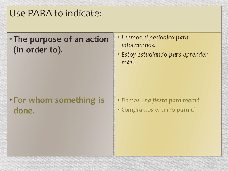 Use PARA to indicate: The purpose of an action (in order to).