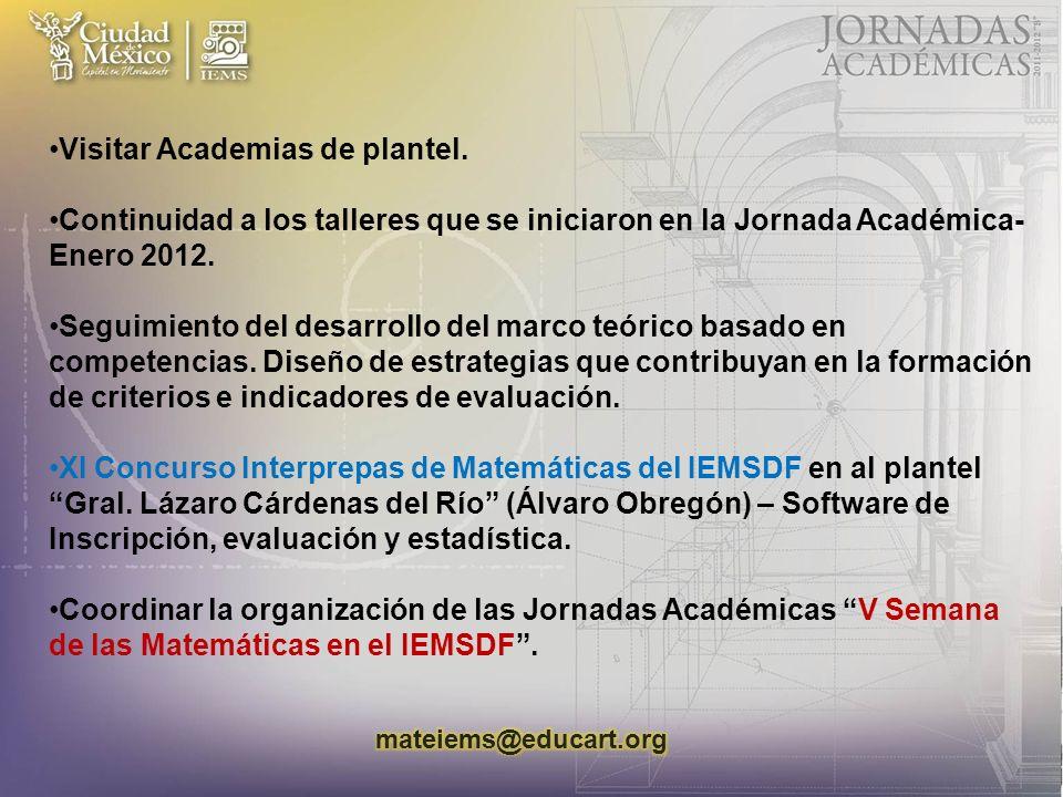 Visitar Academias de plantel.