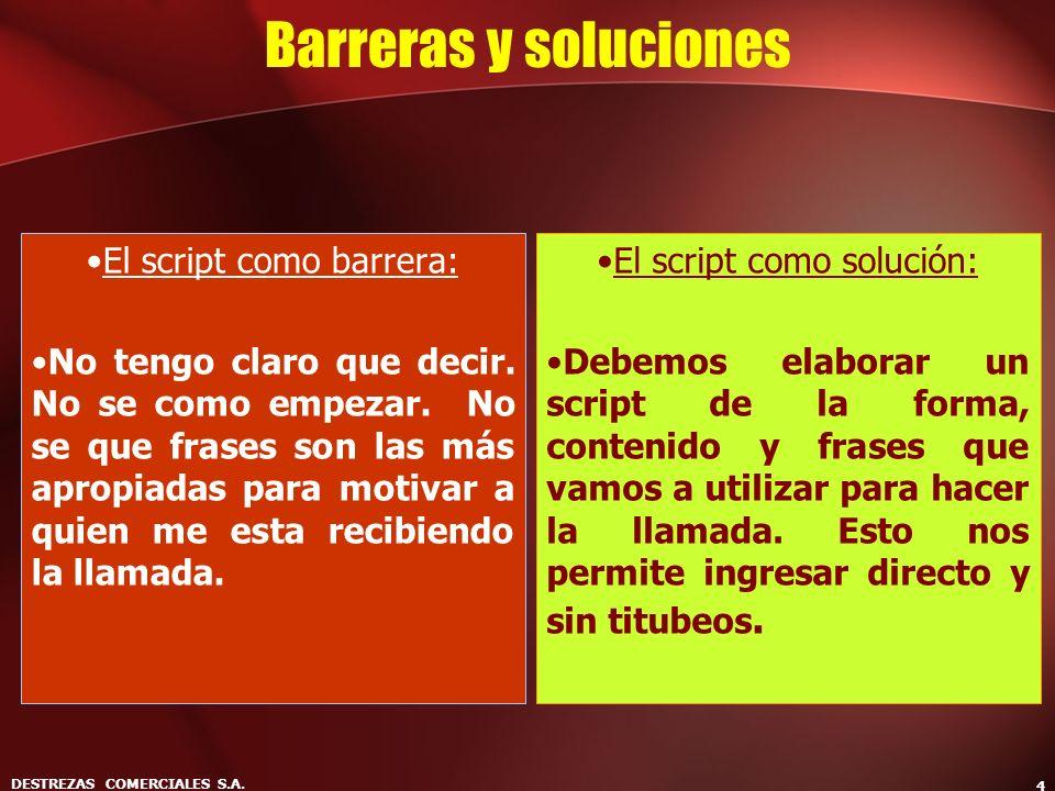 DESTREZAS COMERCIALES S.A. 4 Barreras y soluciones El script como barrera: No tengo claro que decir. No se como empezar. No se que frases son las más