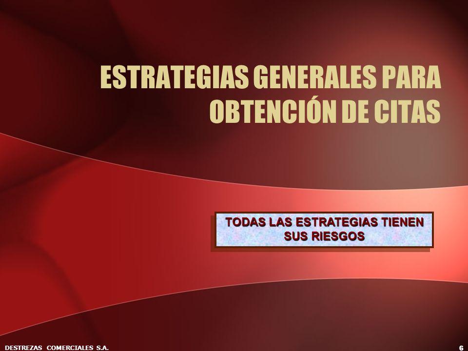 DESTREZAS COMERCIALES S.A. 6 ESTRATEGIAS GENERALES PARA OBTENCIÓN DE CITAS TODAS LAS ESTRATEGIAS TIENEN SUS RIESGOS
