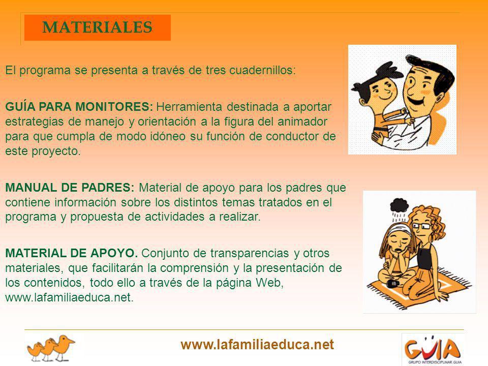 www.lafamiliaeduca.net El programa se presenta a través de tres cuadernillos: GUÍA PARA MONITORES: Herramienta destinada a aportar estrategias de mane
