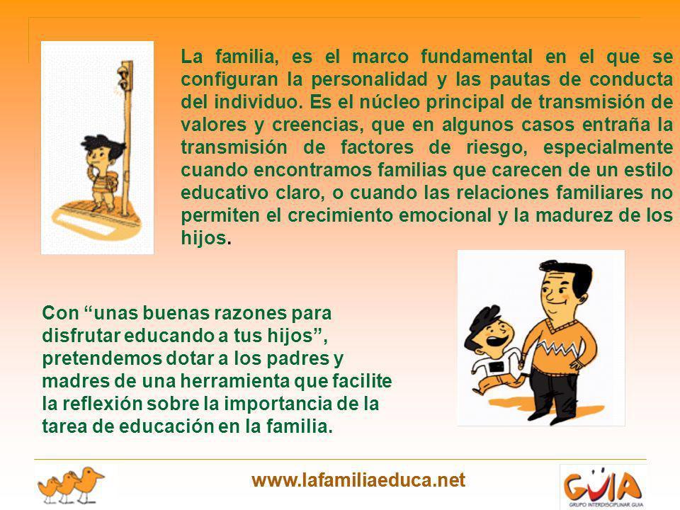 www.lafamiliaeduca.net La familia, es el marco fundamental en el que se configuran la personalidad y las pautas de conducta del individuo. Es el núcle