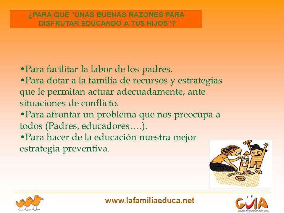 www.lafamiliaeduca.net Para facilitar la labor de los padres. Para dotar a la familia de recursos y estrategias que le permitan actuar adecuadamente,
