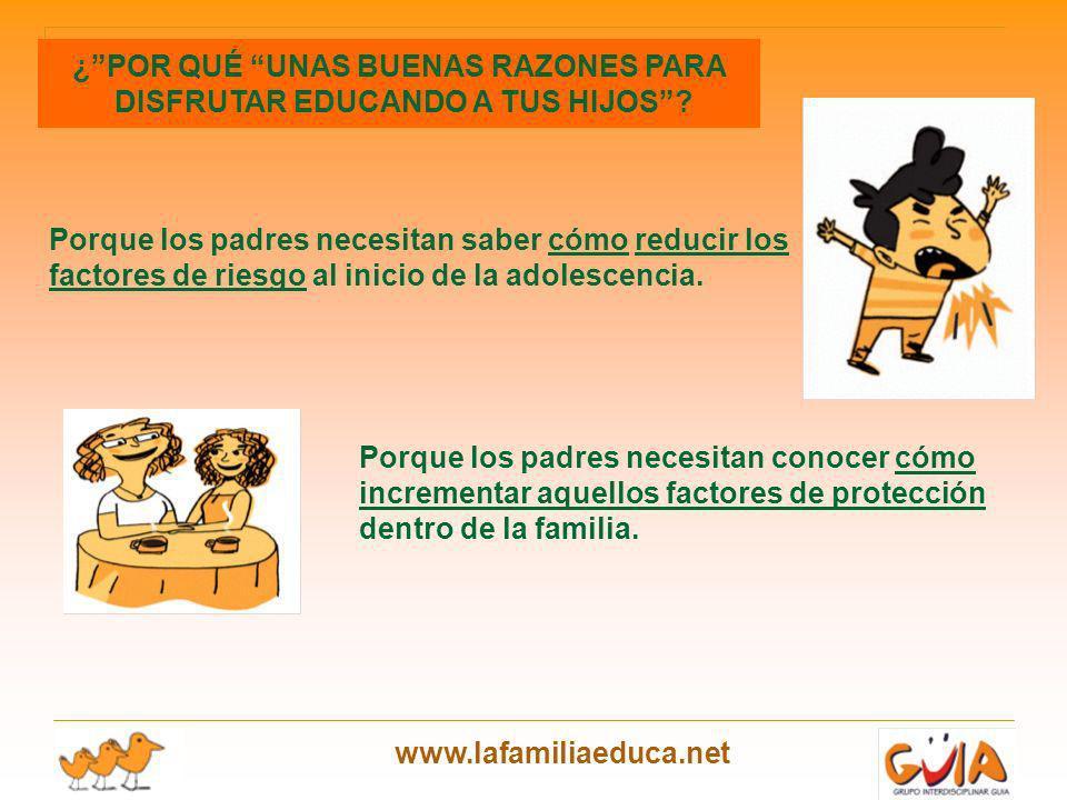www.lafamiliaeduca.net Porque los padres necesitan saber cómo reducir los factores de riesgo al inicio de la adolescencia. Porque los padres necesitan