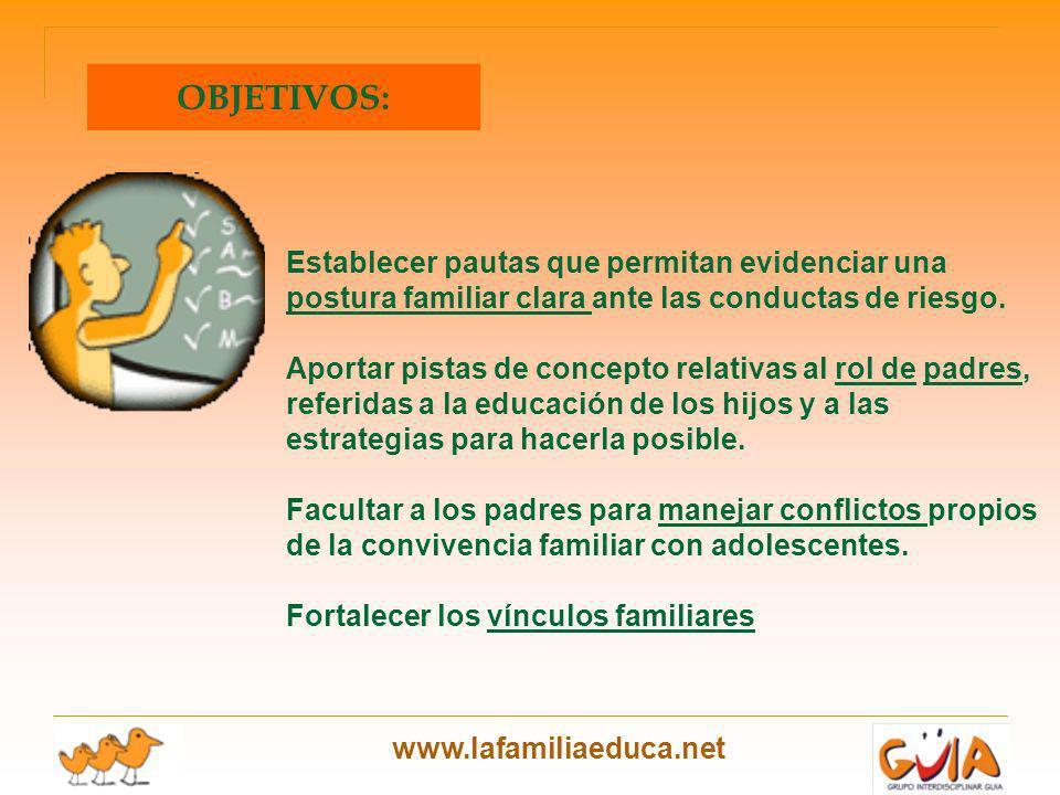 www.lafamiliaeduca.net Establecer pautas que permitan evidenciar una postura familiar clara ante las conductas de riesgo. Aportar pistas de concepto r