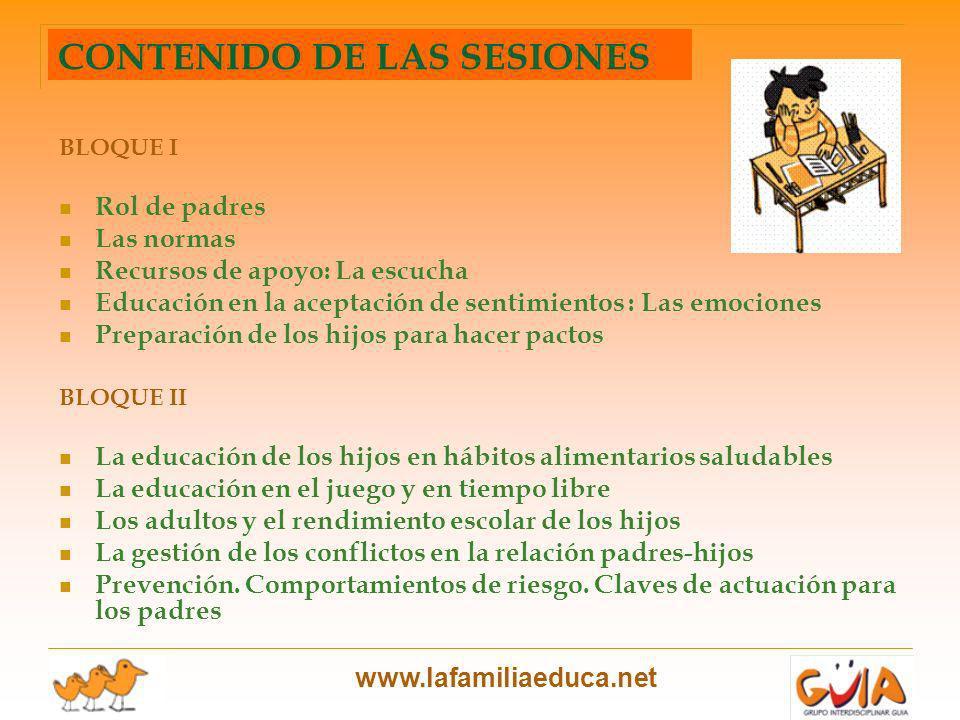 www.lafamiliaeduca.net BLOQUE I Rol de padres Las normas Recursos de apoyo: La escucha Educación en la aceptación de sentimientos : Las emociones Prep