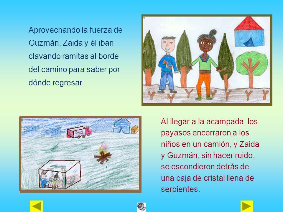Aprovechando la fuerza de Guzmán, Zaida y él iban clavando ramitas al borde del camino para saber por dónde regresar. Al llegar a la acampada, los pay