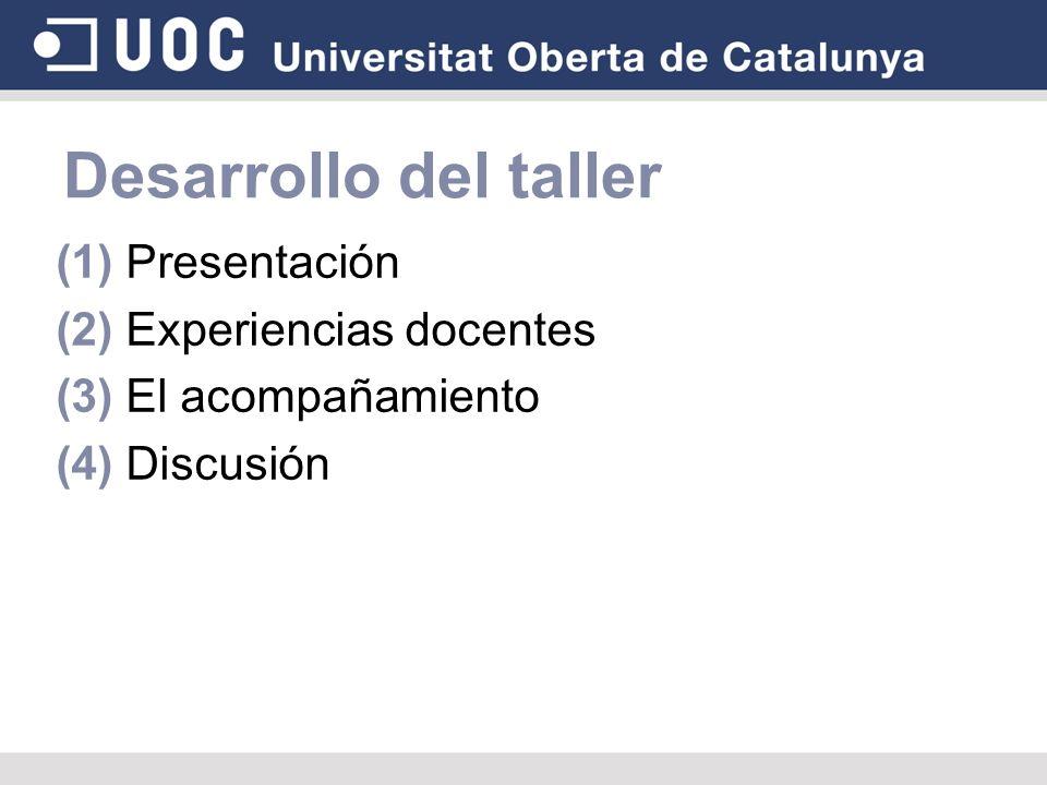 Desarrollo del taller (1) Presentación (2) Experiencias docentes (3) El acompañamiento (4) Discusión