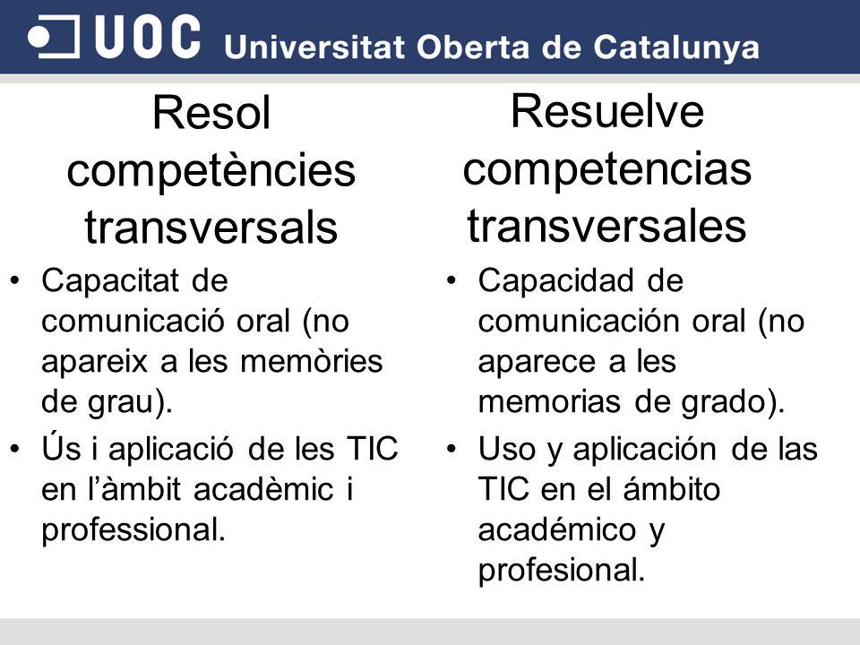 Resol competències transversals Capacitat de comunicació oral (no apareix a les memòries de grau).