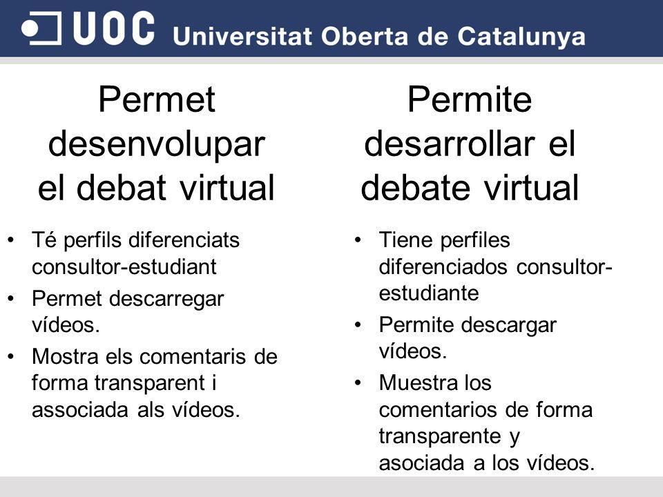 Permet desenvolupar el debat virtual Té perfils diferenciats consultor-estudiant Permet descarregar vídeos.