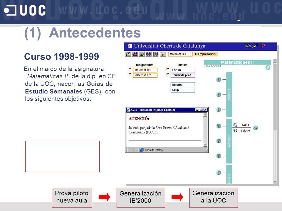 (1) Antecedentes Curso 1998-1999 En el marco de la asignatura Matemáticas II de la dip.