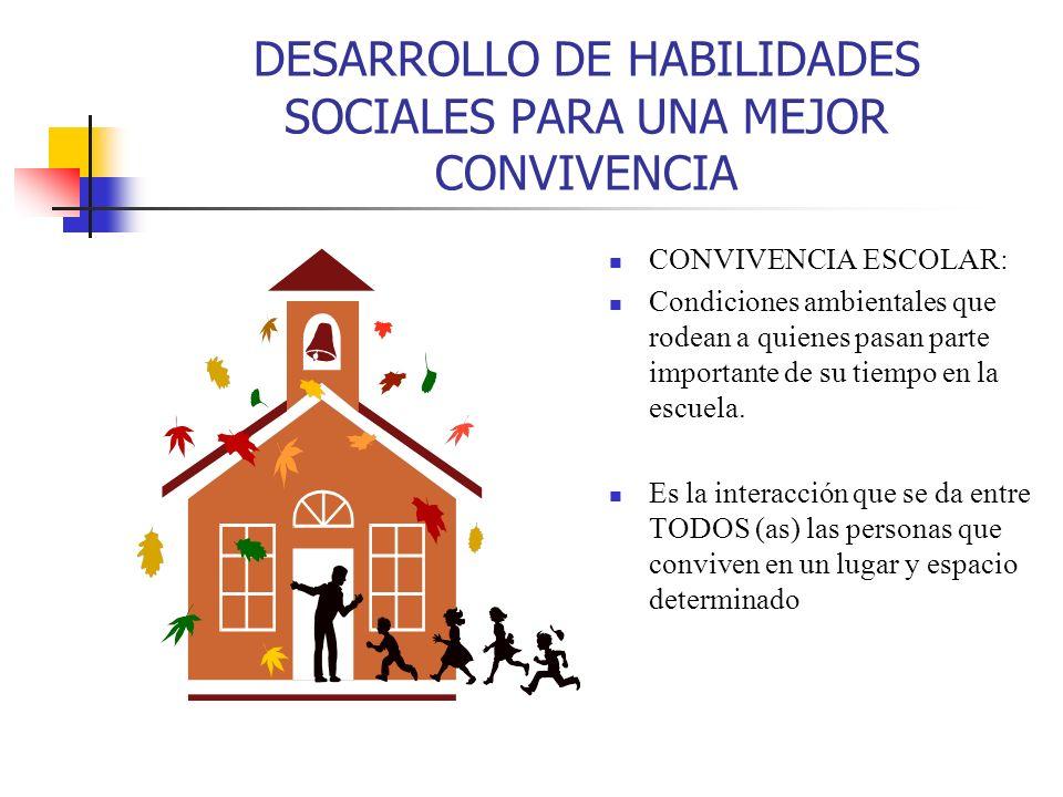 DESARROLLO DE HABILIDADES SOCIALES PARA UNA MEJOR CONVIVENCIA CONVIVENCIA ESCOLAR: Condiciones ambientales que rodean a quienes pasan parte importante de su tiempo en la escuela.