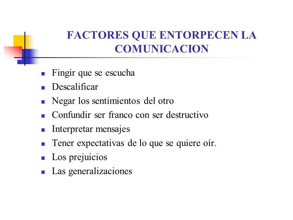FACTORES QUE FACILITAN LA COMUNICACION La escucha Activa: Características Mirar a los ojos. A la cara. Dejar lo que se está haciendo. Captar el conten