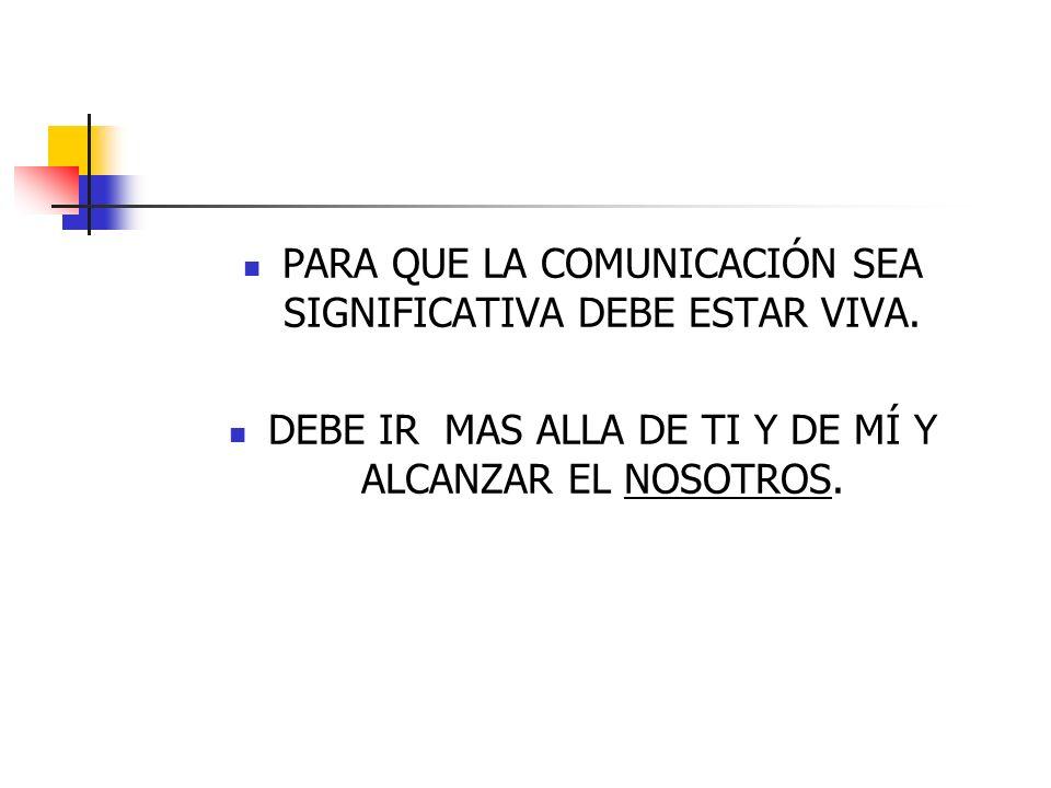 PARA QUE LA COMUNICACIÓN SEA SIGNIFICATIVA DEBE ESTAR VIVA.