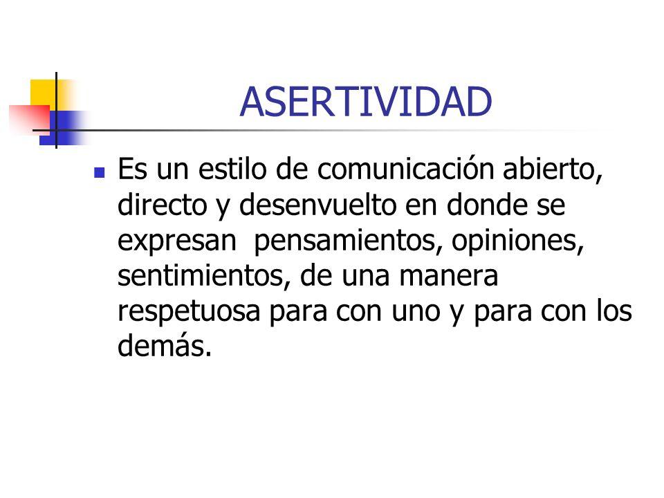 ASERTIVIDAD Es un estilo de comunicación abierto, directo y desenvuelto en donde se expresan pensamientos, opiniones, sentimientos, de una manera respetuosa para con uno y para con los demás.