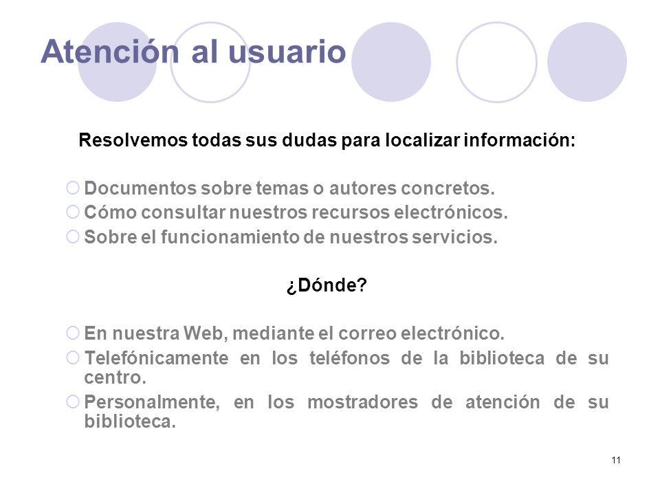 11 Atención al usuario Resolvemos todas sus dudas para localizar información: Documentos sobre temas o autores concretos.