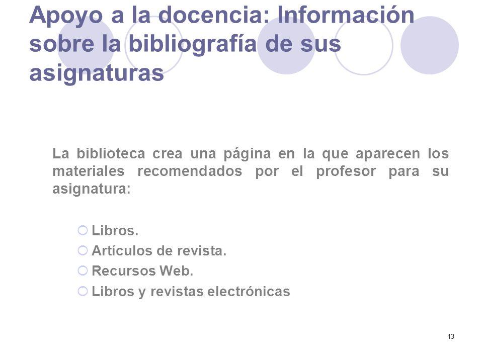13 Apoyo a la docencia: Información sobre la bibliografía de sus asignaturas La biblioteca crea una página en la que aparecen los materiales recomendados por el profesor para su asignatura: Libros.