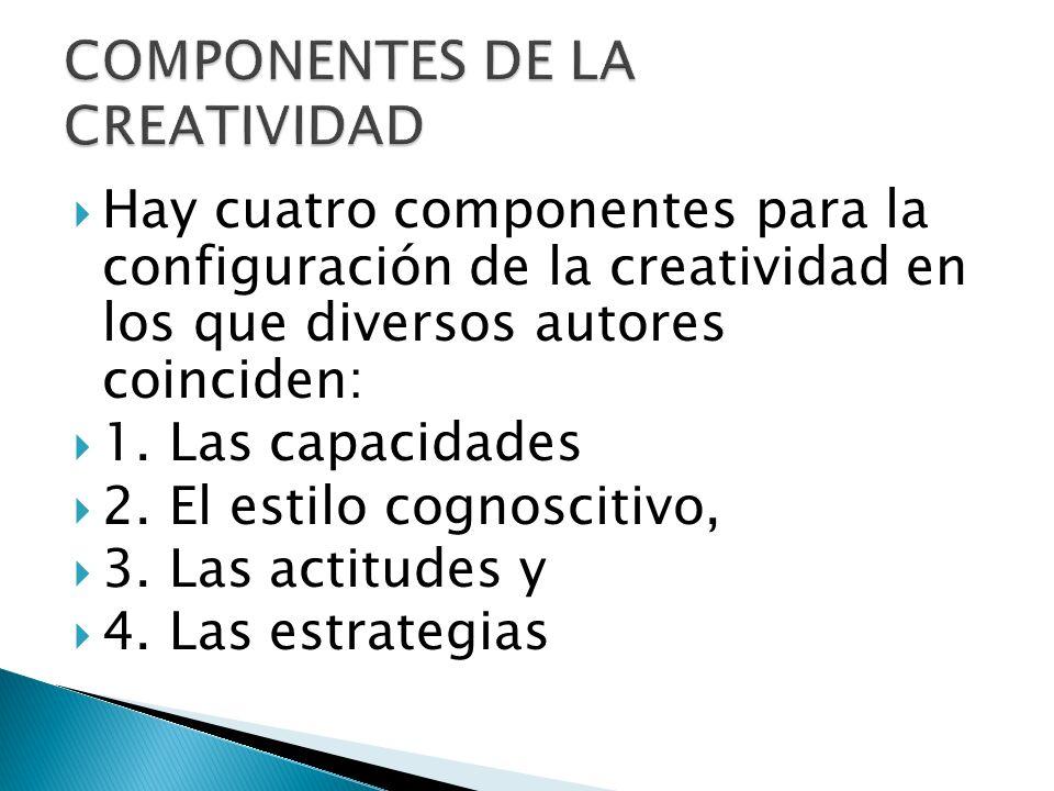 Hay cuatro componentes para la configuración de la creatividad en los que diversos autores coinciden: 1. Las capacidades 2. El estilo cognoscitivo, 3.