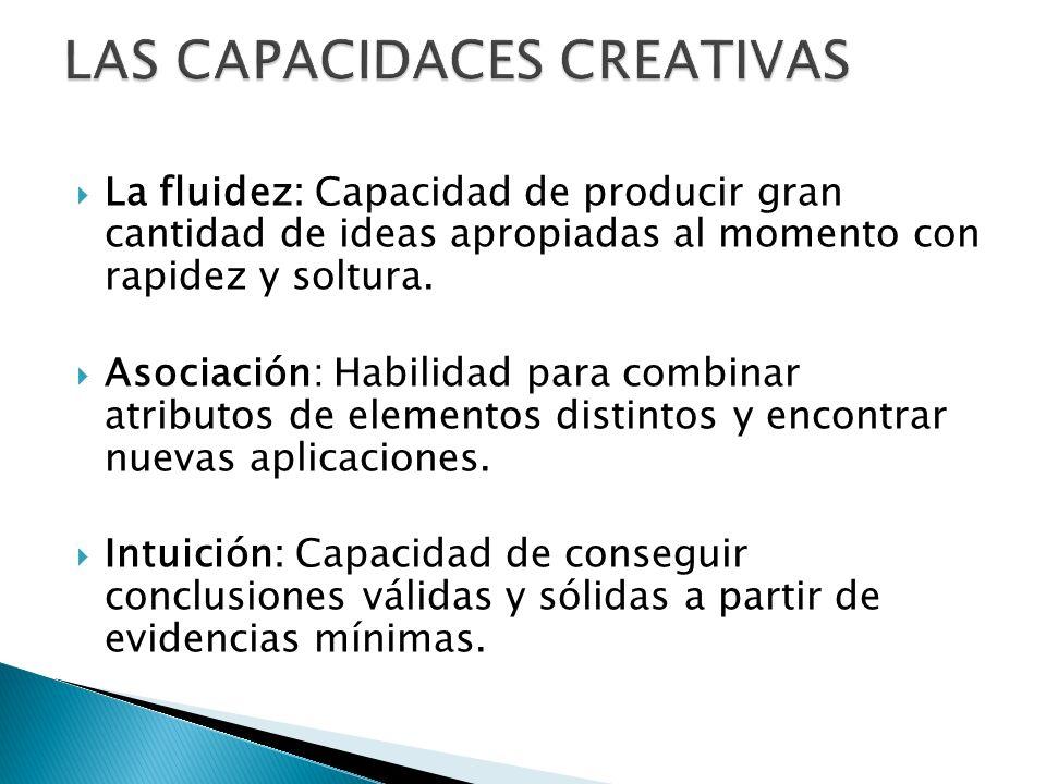 La fluidez: Capacidad de producir gran cantidad de ideas apropiadas al momento con rapidez y soltura. Asociación: Habilidad para combinar atributos de