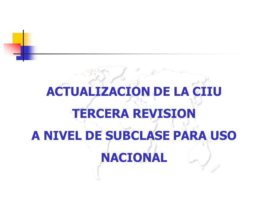 ACTUALIZACION DE LA CIIU TERCERA REVISION A NIVEL DE SUBCLASE PARA USO NACIONAL