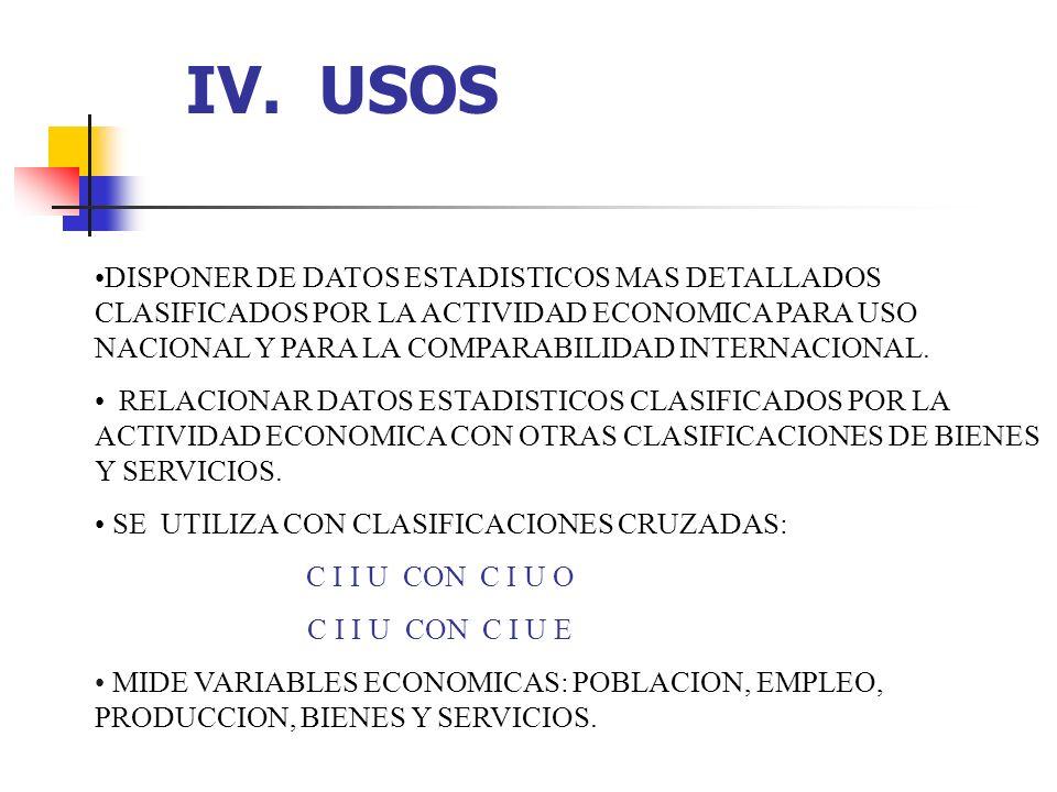 IV. USOS DISPONER DE DATOS ESTADISTICOS MAS DETALLADOS CLASIFICADOS POR LA ACTIVIDAD ECONOMICA PARA USO NACIONAL Y PARA LA COMPARABILIDAD INTERNACIONA